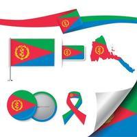 bandera eritrea con elementos vector