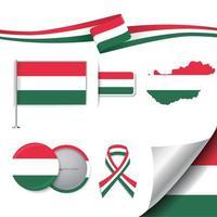 bandera de hungría con elementos vector