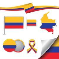 bandera de colombia con elementos vector