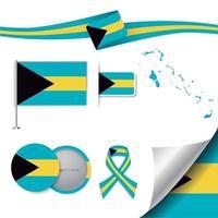bandera de bahamas con elementos vector