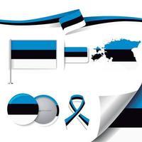 bandera de estonia con elementos vector