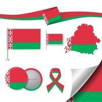 bandera de bielorrusia con elementos vector