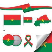 bandera de burkina faso con elementos vector