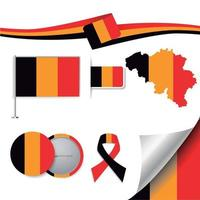bandera belgica con elementos vector