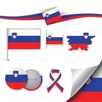 bandera de eslovenia con elementos vector