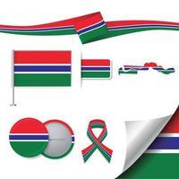 bandera de gambia con elementos vector