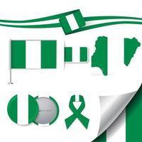 bandera de nigeria con elementos vector