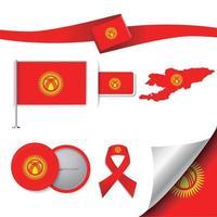 bandera de kirguistán con elementos vector