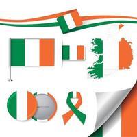 bandera de irlanda con elementos vector