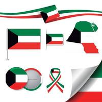 bandera de kuwait con elementos vector
