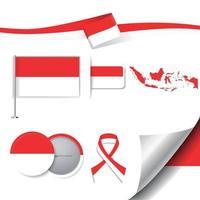 bandera de indonesia con elementos vector