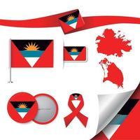bandera de antigua y barbuda con elementos vector