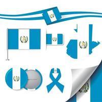 bandera de guatemala con elementos vector