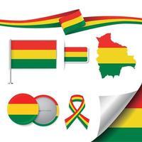 bandera de bolivia con elementos vector