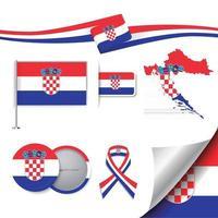 Croatia Flag with elements vector