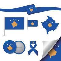 bandera de kosovo con elementos vector