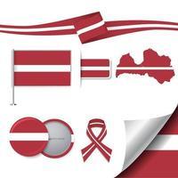 bandera de letonia con elementos vector