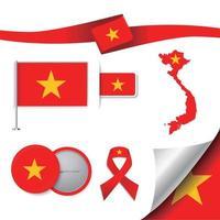 bandera de vietnam con elementos vector