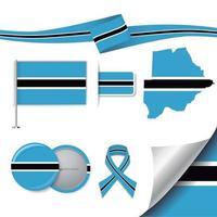 Botswana Flag with elements vector