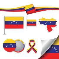 bandera de venezuela con elementos vector