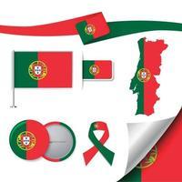 bandera de portugal con elementos vector