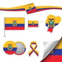 bandera de ecuador con elementos vector