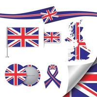 United Kingdom Flag with elements vector