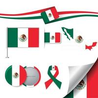 Mexico Flag with elements vector