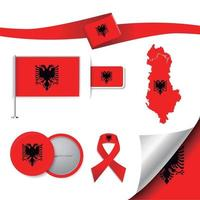 Albania flag with elements vector