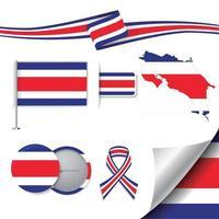 bandera de costa rica con elementos vector
