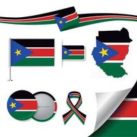 South Sudan flag with elements vector