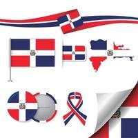 Dominican Republic flag with elements vector