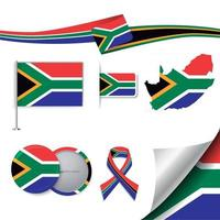 South Africa flag with elements vector