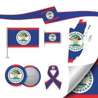 Belize flag with elements vector