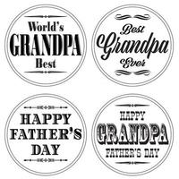 grandpa fathers day graphics on white circles vector
