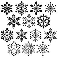 black silhouette snowflake shapes vector