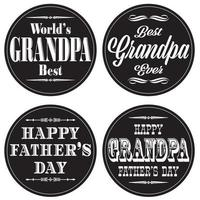 grandpa fathers day graphics on black circles vector
