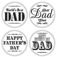 fathers day graphics on white circles vector