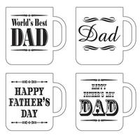 happy father's day coffee mug graphics black and white vector
