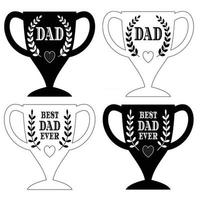 happy father's day trophy graphics black and white vector