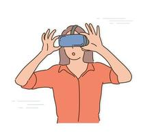 A woman is wearing VR glasses and holding the glasses with both hands. hand drawn style vector design illustrations.