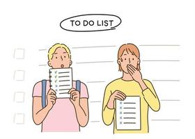 People holding to-do lists. hand drawn style vector design illustrations.