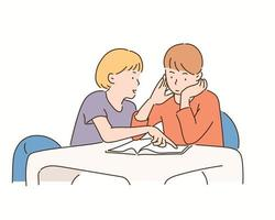 A girl is teaching a boy to study. hand drawn style vector design illustrations.