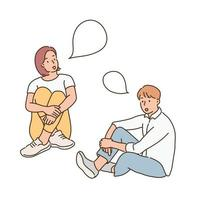 Two men and women are sitting on the floor and talking. hand drawn style vector design illustrations.