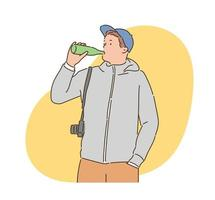 A man with a camera is drinking a drink. hand drawn style vector design illustrations.
