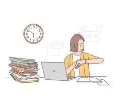una mujer de negocios está mirando el reloj, ha pasado el final de la jornada laboral, pero el trabajo está amontonado en el escritorio. ilustraciones de diseño de vectores de estilo dibujado a mano.