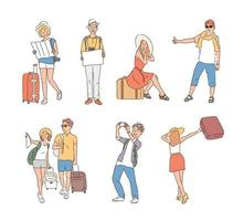 Tourists with suitcases. hand drawn style vector design illustrations.