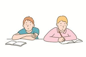 One student has a book open and has a blank expression, while the other is studying hard. hand drawn style vector design illustrations.