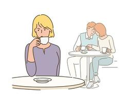 A woman is drinking coffee with an angry expression and behind her is an affectionate couple. hand drawn style vector design illustrations.