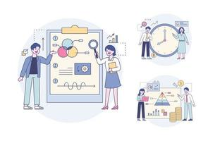 Professionals analyzing data by looking at chart portfolios and clock and pyramid graphs. Outline flat design style minimal vector illustration set.